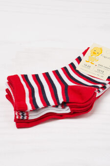 Three-pack striped socks, Red, hi-res