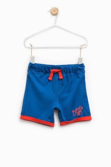 Pantalón corto con bajos vueltos en contraste, Azul real, hi-res