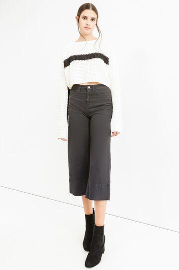 Solid colour gaucho pants., Black, hi-res