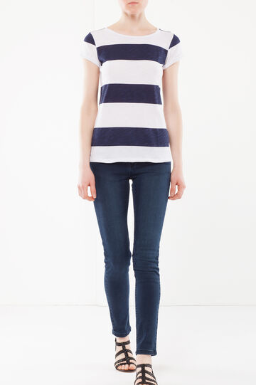 T-shirt a strisce, Bianco/Blu, hi-res