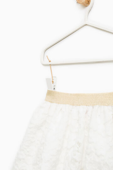 Lace skirt with pleated motif, Milky White, hi-res