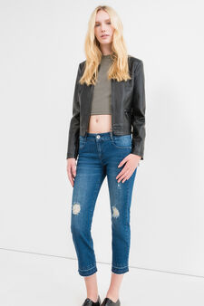 Cropped stretch jeans with rips, Medium Wash, hi-res