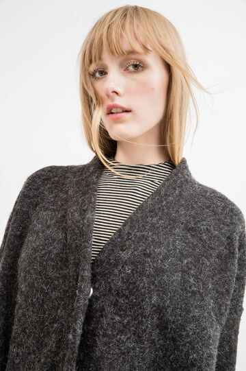Long knitted cardigan, Grey, hi-res