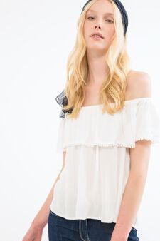 Boat neck blouse in 100% viscose, Milky White, hi-res