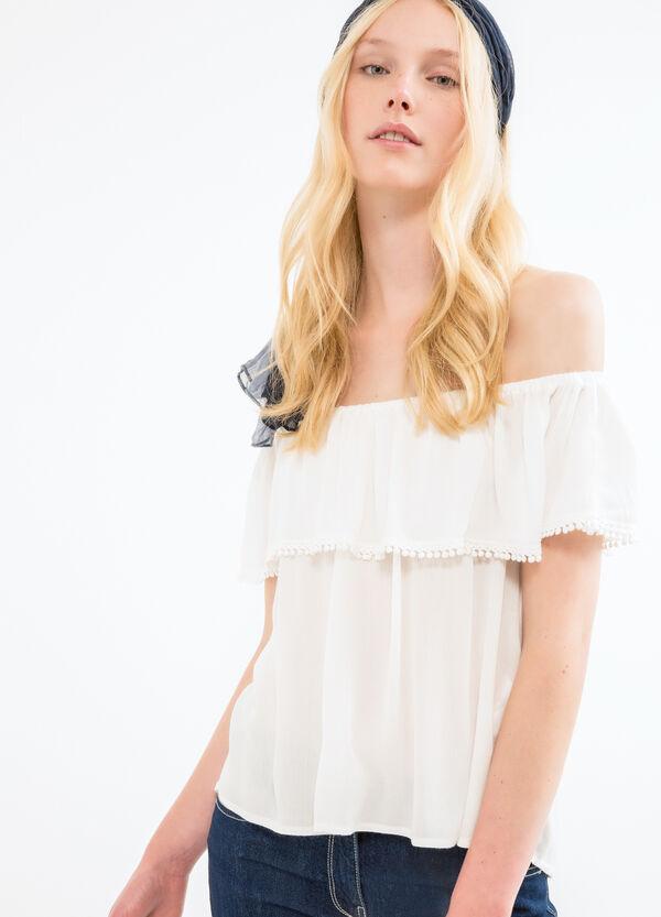Boat neck blouse in 100% viscose | OVS
