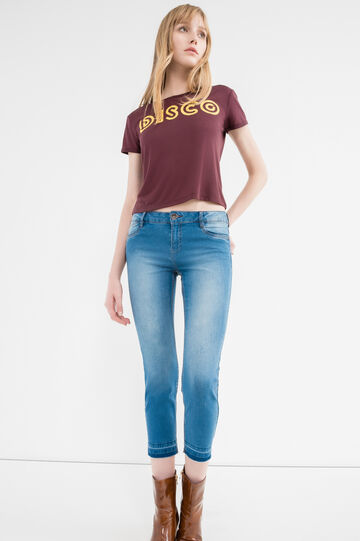 Jeans crop stretch effetto used, Lavaggio medio, hi-res