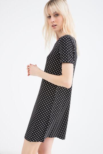 Stretch dress with polka dot print, Black, hi-res