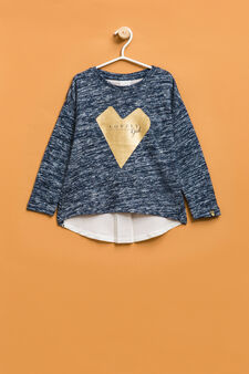 Pullover with contrasting print on the back, Blue Marl, hi-res