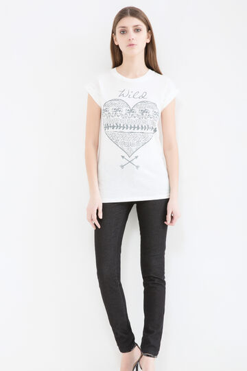 100% cotton T-shirt with print, Milky White, hi-res