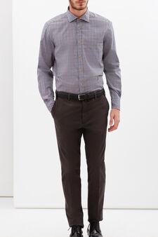 Rumford check shirt, Blue/Brown, hi-res