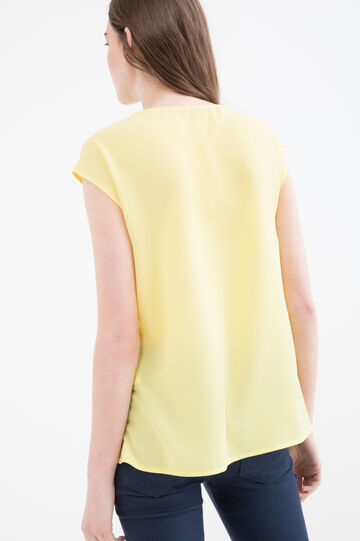 Solid colour stretch blouse, Yellow, hi-res