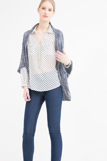 Cardigan in misto cotone tricot, Blu navy, hi-res