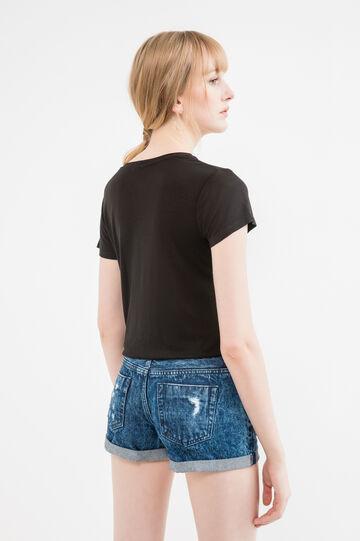 100% viscose T-shirt with sequins, Black, hi-res