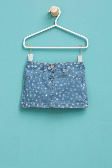 Floral patterned denim skirt