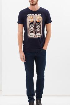 T-shirt puro cotone stampata, Blu, hi-res