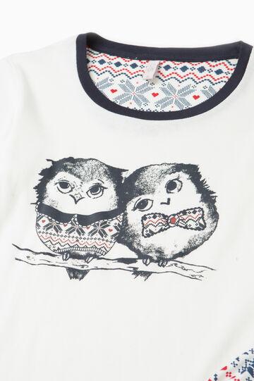 100% cotton pyjamas with owl print, Cream White, hi-res