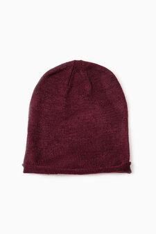 Solid colour beanie cap, Claret Red, hi-res