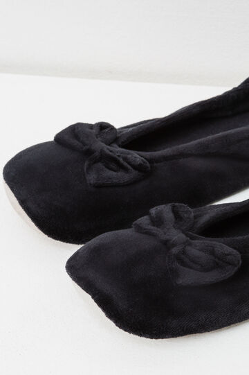 Ballerina flat slippers with bow, Black, hi-res