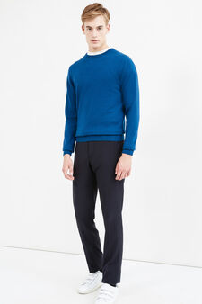 Pullover cashmere e seta tinta unita, Blu avio, hi-res