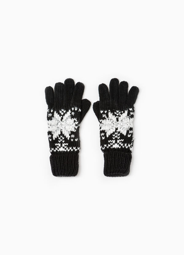 Knitted gloves with embroidery and diamantés   OVS