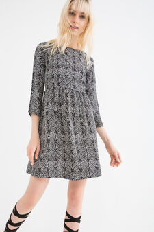 100% viscose dress with print, White, hi-res