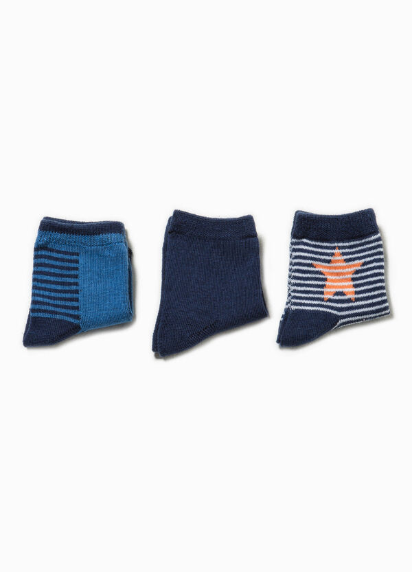 Three-pair pack striped and embroidered socks | OVS