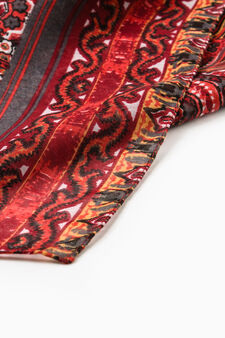 Scarf with ethnic pattern, Red, hi-res