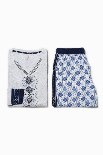 Camiseta de pijama con estampado y bordados, Gris claro jaspeado, hi-res