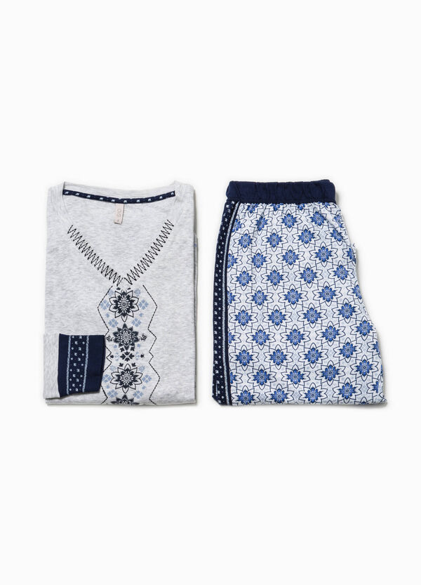 Pyjama top with print and embroidery | OVS