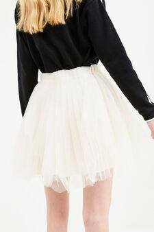 Solid colour short skirt in tulle, Milky White, hi-res