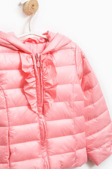 Down jacket with hood and flounces, Pink, hi-res