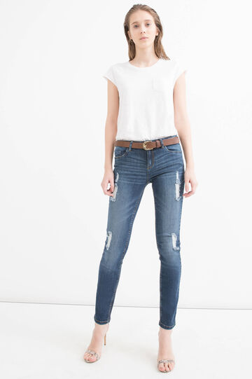 Slim fit stretch jeans with rips, Dark Wash, hi-res