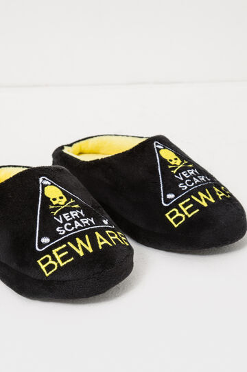 Embroidered canvas slippers, Black/Yellow, hi-res