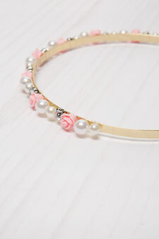 Hairband with diamantés and beads., White/Pink, hi-res