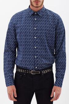 Slim-fit floral shirt, Blue, hi-res
