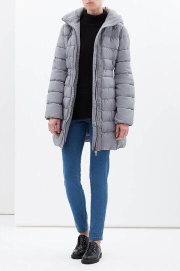 Long jacket with hood., Grey, hi-res