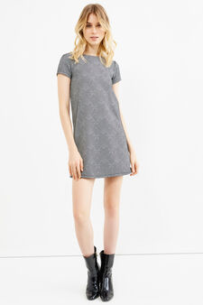Stretch dress with contrasting pattern, White/Black, hi-res