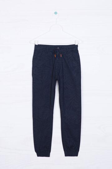 Pantaloni puro cotone tinta unita, Blu, hi-res
