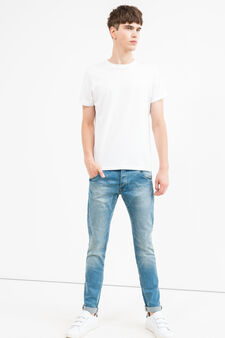Slim fit jeans with turned-up ankles, Light Wash, hi-res