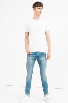 Jeans slim fit caviglie con risvolto, Lavaggio chiaro, hi-res