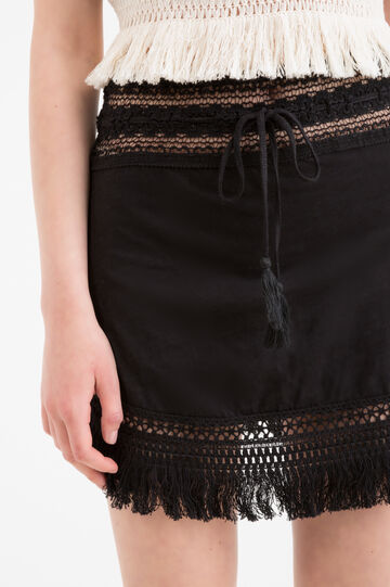 Cotton mini skirt with fringe by Maui and Sons, Black, hi-res