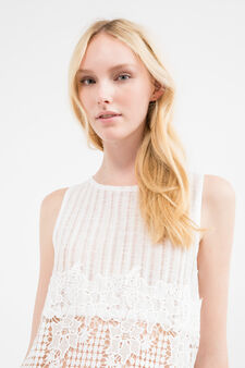 Solid colour crop top with embroidery and inserts, White, hi-res
