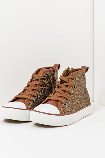 High-top glitter sneakers, Natural, hi-res
