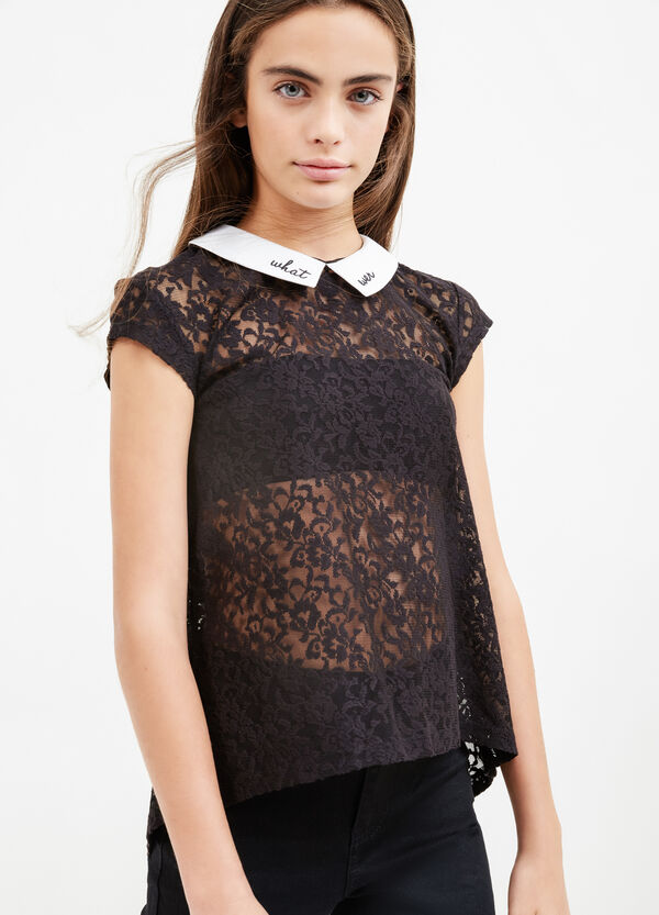 Teen polo shirt in lace with collar | OVS