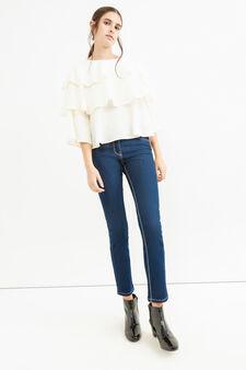 Solid colour ruffled shirt, White, hi-res