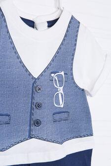 Pagliaccetto in puro cotone, Bianco/Blu, hi-res