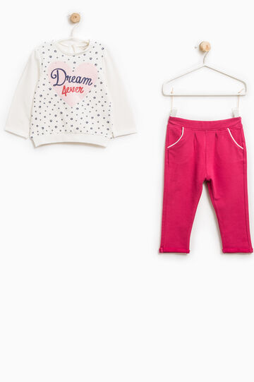 Stretch cotton tracksuit with glitter print, Milky White, hi-res