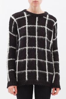 Check pullover in angora blend, White/Black, hi-res