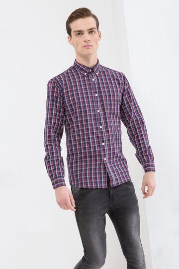 Camicia cotone tartan con taschino, Blu/rosso, hi-res