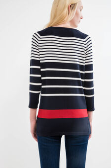 Pullover with striped three-quarter sleeves, Navy Blue, hi-res